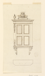 Elevation of a hanging cabinet. Scrolling corbels below. The left side decorated with bellflowers and capped with a small vase. Crowned crest  with the Chi-Rho christogram.