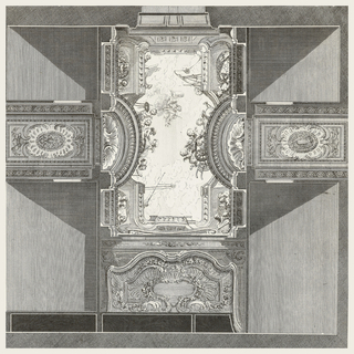 Trompe l'oeil effect, view of sky through opening, which is surrounded by putti, a painter with a canvas and easel; putti hold astronomical drawings and use astronomy instruments; at center, in sky, a robed and crowned figure.