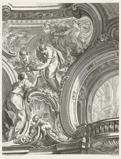 View of upper corner of a room; left, a putto perched on a rocaille cornice leading up to a robed woman reaching up to another woman who bends over handing her a basket of flowers. Above, more figures holding a large basket of flowers; C-curves frame this scene. Right, trompe l'oeil balcony with architecture view.
