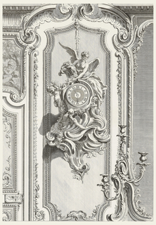 Pendulum clock on a panel, suspended by a vine; a winged female figure, holding a bundle of flowers and leaves, sits atop clock; left, a standing putto and below a female figure seen from the back, engulfed by wave-like elements, gazes upward. On right, partial mirror; left, partial door.