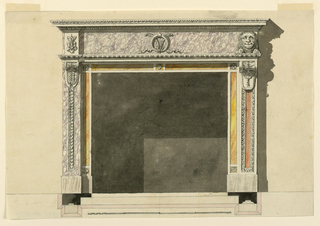 The outer frame consists of pilasters with brakcets as consoles. The designs of the latter are different as are the decoration and the material used for the pilasters. The left one shows an inner narrow stripe with a heart motif framed by lilac marble. The right pilaster shows a framed oblong panel of red marble. The inner frame consists of oblongs of yellow marble and squares with rosettes. Above is an entablature with a high frieze. In its center is a device, a ring and two feathers. Laterally are at left a calyx, in an architrave at right a crouching lion shown from the front face. The cast shadow is indicated. The background is colored slightly brown. Base line. Below are the plan and thes cale.  Traces of framing lines above and below.
