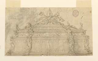 Elevation of a stepped sarcophagus with angel caryatids a miniature smoking braziers. At top, a bishop's mitre, and crosier.