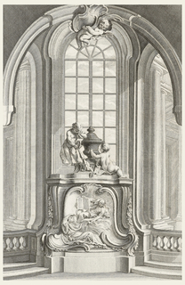 tomb with two central figures, one reclined on rocaille formation, with right hand on head, left hand holding had of second figure who leans over and holds a book upright in his right hand. tombe topped with two putti and urn; standing putto holds head in hand, while seated putto engraves urn. Architectural indoor background with window behind tomb and columns on either side.