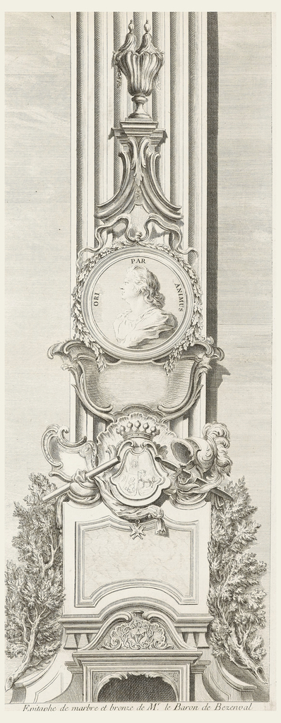 Epitaph stands in front of fluted pilaster and flanked by branches. Starting with lower section, crown of thorns sits framed by a shell; a larger panel of veined marble topped by family crest illustrates a ram, baby, and two horseshoes and topped by a crown. Flanking this a scroll and a dagger. Below, hangs a medal of honor, on right a helmet. Above, portrait with inscription ANIMUS PAR ORI; portrait framed by grapevines and ribbon. Finial at the top with two points.