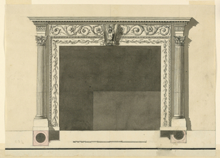 The inner consists of a part of a frame upon a base. Its frieze is decorated with branches which are surrounded by a waved ribbon. Above is a frieze with rinceaux. A bracket is in the center in front of the frame and of the frieze. It is decorated with a trophy of arms. Embedded, fluted Corinthian columns stand laterally. An architrave with a fret band is above them. Cornices of an entablature are on top. Shadow, background, base line, plans, scale, framing as in 1938-88-8211.