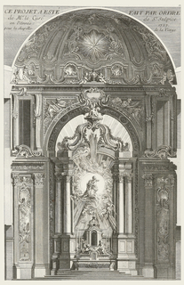 A chapel flanked by Corinthian columns, then fluted pilasters and then panels decorated with shells and illustrations. Stairs lead up to a tomb at center which two putti cover with a cloth; Virgin appears in robes with sun rays behind her; she gazes down toward the tomb, surrounded by putti and other figures. Above, putto holding up a crown of stars. Cupola depicts shells, putti and starts in cartouches.