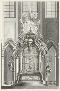 Altar flanked by heavily decorated elements with putti heads and hanging lamps. Stairs lead up to the altar where six candlesticks stand, at center a cross decorated with figures and putti; above, a figure holds a lamp from a vine. Canopied by an arch decorated with figures and topped with a triangle from which sunrays emanate encircled by clouds and putti.