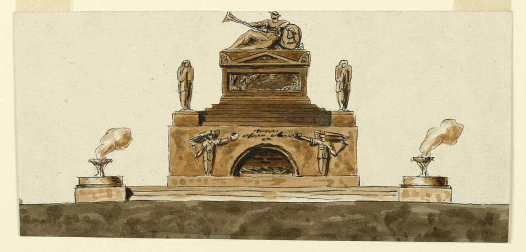 Horizontal rectangle showing a stepped monument with a figure reclining on a shield with a portrait. On either side, a smoking brazier.