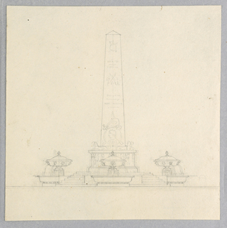 An obelisk with sphinxes at its base is decorated with a man's profile. Below, a stepped base with three vase-shaped fountains.