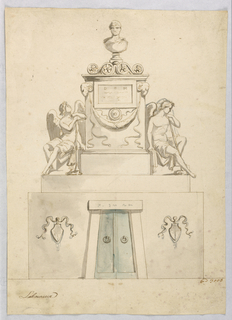 Contour drawing of an arched niche encloses a frame topped by a small bust. Upon a pedestal between two seated genii is the bust of a man.