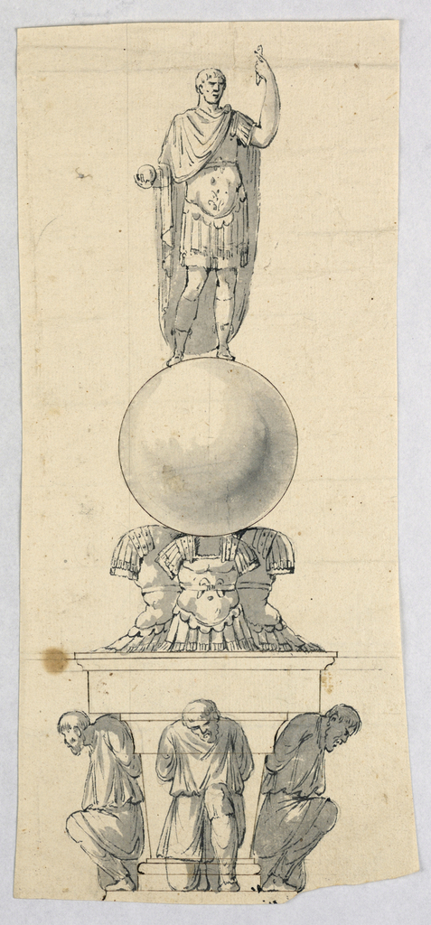 A figure dressed in the antique style stands upon an orb supported by cuirass. Below, three kneeling bearded figures, possibly captives.