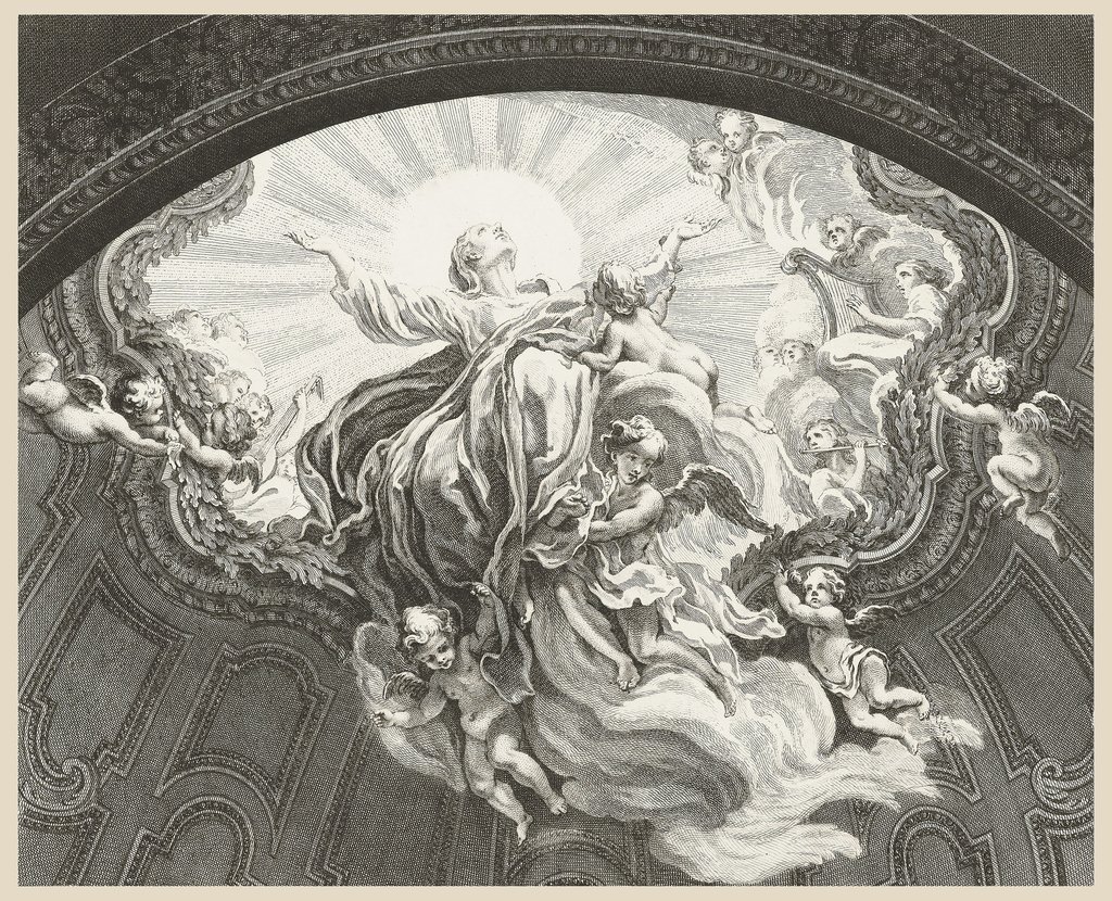 Ceiling, with trompe l'oeil effect, depicting Virgin gazing skyward with sun and rays behind and arms extended, surrounded by winged figures and putti playing musical instruments.