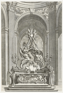 Stairs leading to altar decorated with image of Christ-like figure; with female figure on right and male figure on left. Above, canopied by two figures supporting a book; above this, large cross with putti and sunrays emanating. Arches and windows in background.
