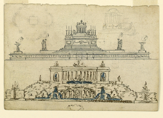 Two views of large, stepped monuments. Upper design is topped with a dome and cross.