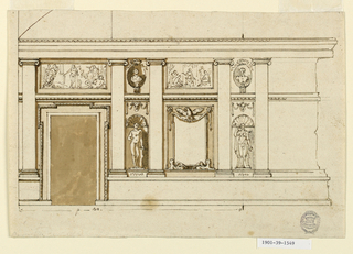 Wall elevation showing a door at left. Overdoor panel with figures. Five pilasters with ionic capitals.  At right, a mirror with an eagle, flanked by niches with figural sculptures.