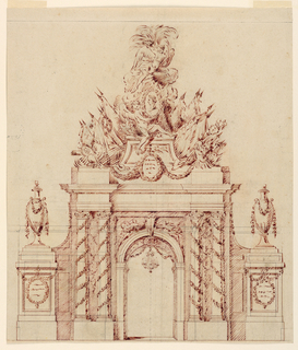 An arched doorway flanked by pairs of columns and pedestals upon which urns stand. A chandelier is suspended from the top of the doorway. A figure holds a portrait medallion of a warrior and crowned by another figure from above.
