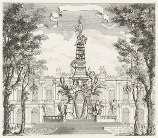 Garden with tall trees and façade of palace in background. Stairs lead up to exotic obelisque-like structure made of stone with palm trees, figures holding birds; above, structure is rounded pagoda-like obelisque with grapevines and winged figures.