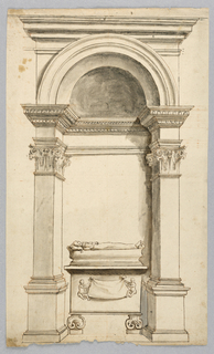 Elevation of an arched niche. Inside a recumbent effigy of a young woman on a tomb.