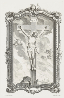 Framed Christ on cross. Frame decorated with putti heads, reeds and foliage. Above Christ, on cross written: J. N. R. J.  Five putti heads in sky around Christ, whose palms are bleeding. Below, a pyre ready, rocks, and dome of church visible in background right.