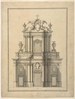 Design for the two-tiered elevation fo the facade of Santa Maria dell'Orazione e Morte in Rome, Italy. An escutcheon at top flanked by sculptures of two winged figures, a cross above them at center.