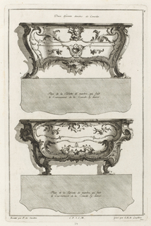 Two drawings for commodes.  The top drawing depicts the cabinet as having an angelic mask in the center, at the top, surrounded by curving, vine-like designs.  On the upper corner of the first commode, there is a grotesque, diabolic head.  The second commode is similar, but without the mask or head and with a slightly varied pattern.