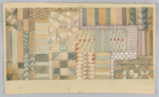 Rectangular sheet with a variety of geometric patterns—rectangles, squares, triangles, and chevrons—in a muted palette of sandy pink, dusty beige, taupe, grey, and brown with isolated dots and small squares in white gouache and red wash.