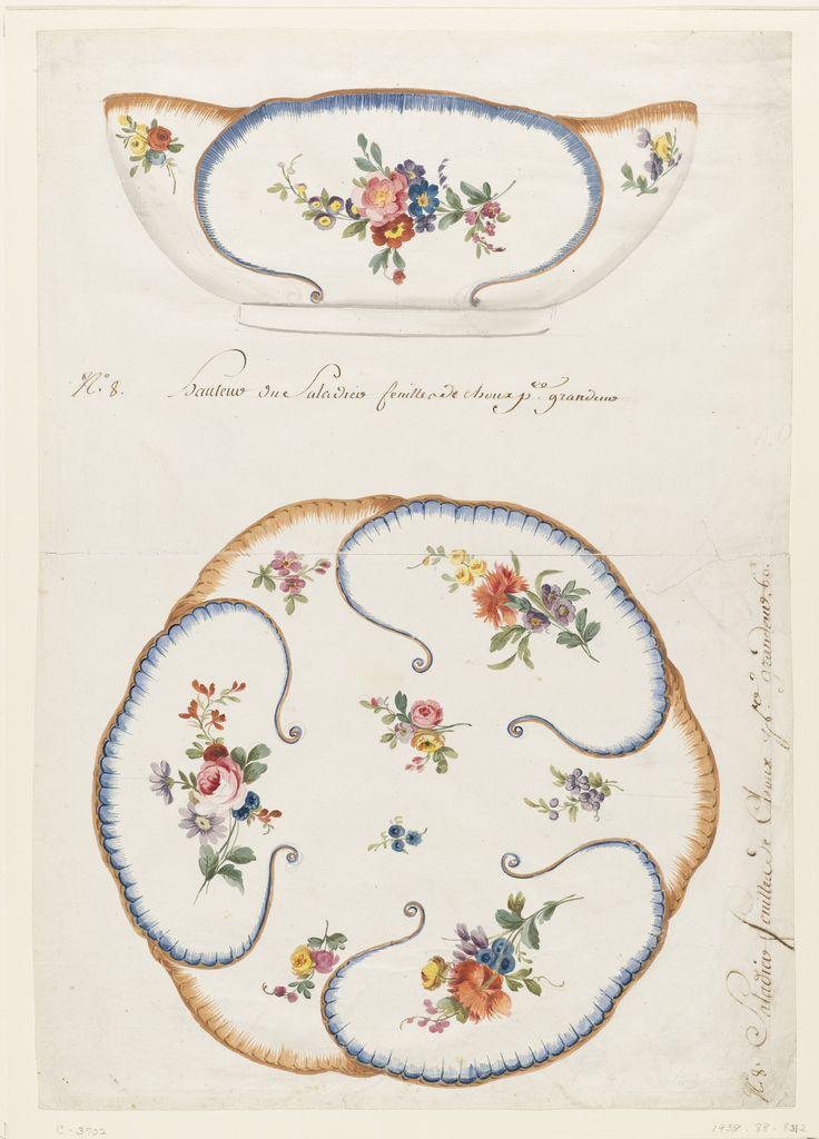 View of salad bowl in elevation (above) and plan (below), painted on exterior and interior in form of large cabbage-like leaves, each leaf bordered alternatively in blue and yellow/brown painted scallops.  The reserves are painted with sprays of roses, tulips, and colored daisies.