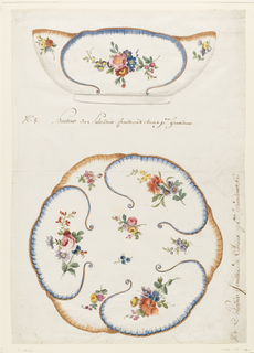 View of salad bowl in elevation (above) and plan (below), painted on exterior and interior in form of large cabbage-like leaves, each leaf of which is bordered alternatively in blue and yellow/brown painted scallops.  The reserves are painted with sprays of roses, tulips, colored daisies.