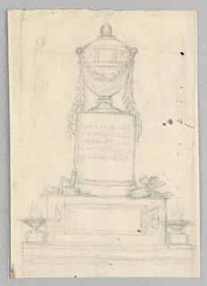 A pedestal with a tabula amata at the front stands between two braziers. Upon it rises a column with inscription supporting a garlanded urn. Artist's tools lie upon the corners of the pedestal; discernable are a hammer, ruler, palette and brushes.