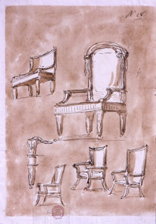 Designs for the five chairs. Seen from an oblique angle, on a washed ground.  Detail of one chair leg.
