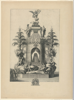 Vertical rectangle. The catafalque is composed of a tower on a rocky base, with captives and mourning allegorical figures. Candlesticks at the sides in the form of palm trees. Below, the arms of the deceased in the artist's name.
