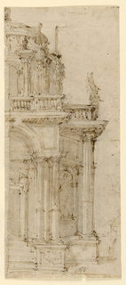 On a narrow vertical sheet, architectural design for a catafalque showing the right side of the two-story structure, the door flanked by columns, domed roof.