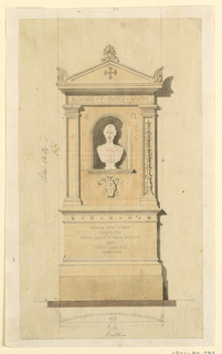 Measured elevation showing an architectural monument with the bust of a woman at center and Greek cross at top. Inscribed on design are the Latin letter A and the symbol for Omega. More text on monument above and below.