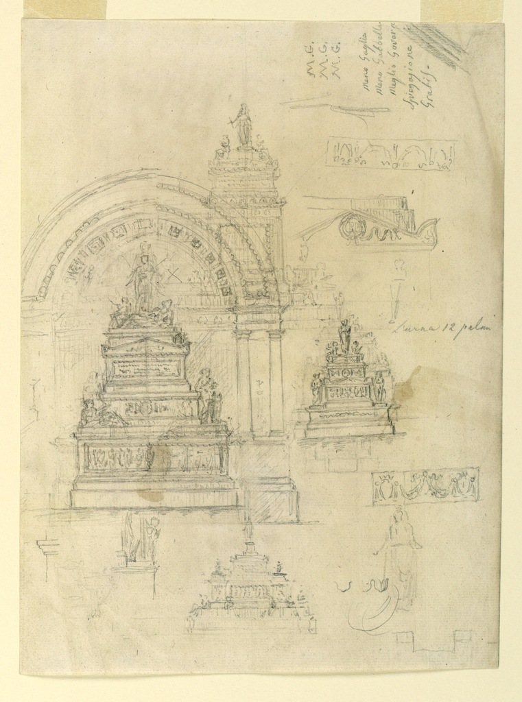 A page with a variety of sketches for pyramidal monuments. At left, a large arch. At right, the initials MG thrice.