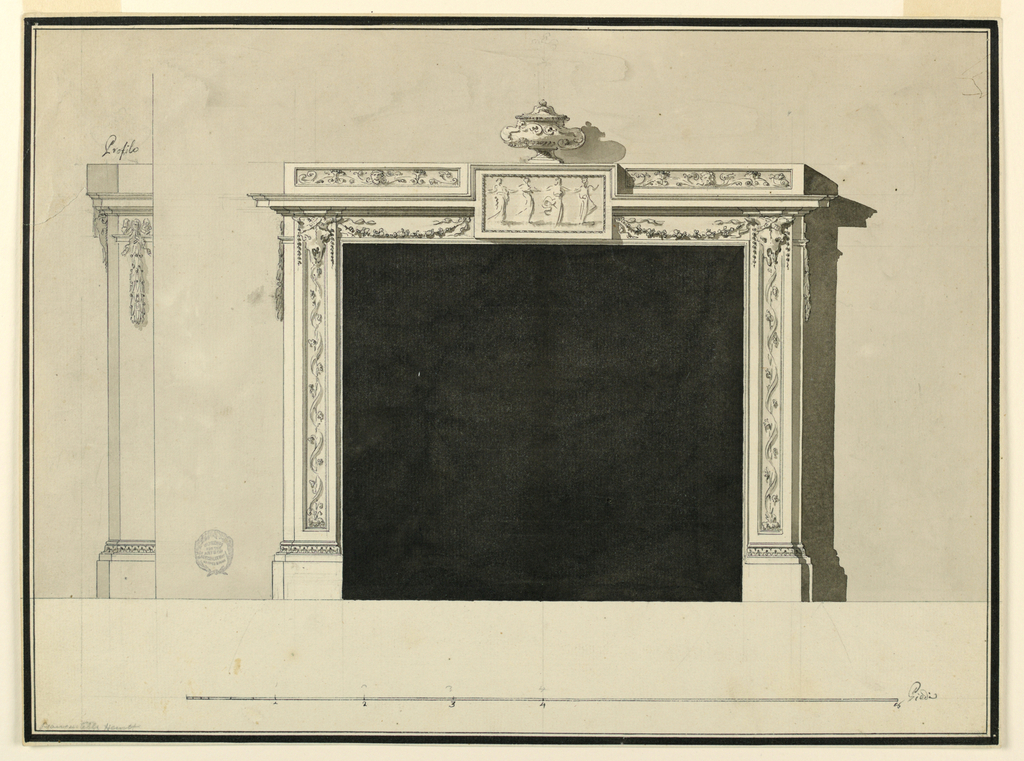 Elevation if mantelpiece. At center, a tablet with four dancing women. On either side, swags and bucranium. Above this, a ceramic vessel. At left, profile view.