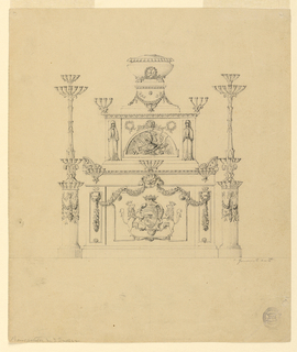 An elevation of a piece of a stepped piece of furniture. At top, a tureen form. Below this, a plinth decorated with a trophy in a demi lune, two clocked figures and two four-branch candelabra. Plinth at base decorated with a crowned crest flanked by lions. Tired candelabra on either side, the base in the form of a fluted column.