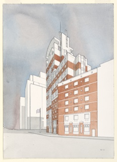 Perspective view of dormitory building situated at center of composition, seen from Stuyvesant Street in New York City. Building colored red and white, surrounding buildings uncolored, sky and street are gray.