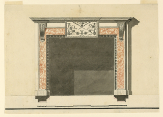 Laterally are stripes projecting from the inner frame and the pilaster strips outside. The strips have together with an upper one the shape of a part of a frame. They show colored marble and are framed below laterally and above by moldings. Brackets support the entablature. A part of a frieze is between the brackets. In the center is an oblong in front of the entire upper part, below the upper moldings of the entablature. It is decorated with a displaced eagle standing upon two crossed torches, below is a festoon. Shadow, background, base line, scale as in 1938-88-8209. The plans are below. Below are a framing line and a stripe, traces of the first one are at the other edges.