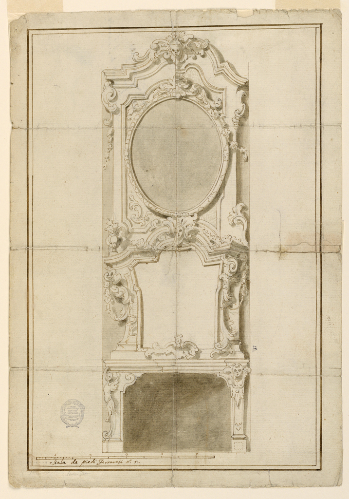 Elevation of a chimneypiece. Below, an undecorated polyangular panel with a scrolling frame. Above this, an oval. At top, a pediment with mask. Double framing lines.