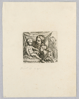 Print, Madonna and Child with Two Women