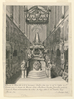 Vertical rectangle. The catafalque is shown on a high platform, with a balduchin over it. Crowds of mourners to left and right. Below, artists' names.