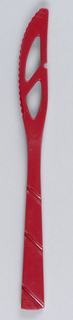 Red serrated knife with three diagonal stripes on handle, and two roughly triangular cut-outs in the blade. Part of a set.