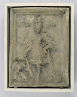 Allegorical figure of America; relief figure in regal attire, with feather cap and aigrette, holding a club; attributes: two macaws and tropical fruit.