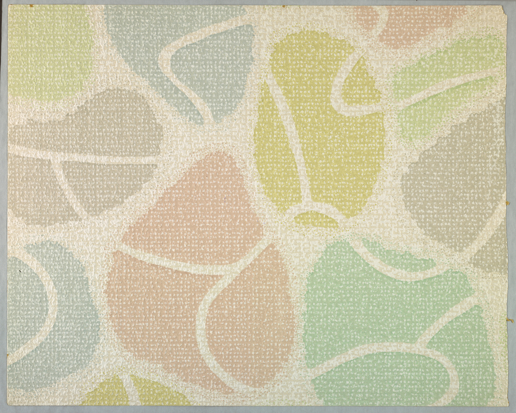 A textured paper with an abstract bold pattern of amorphous shapes. Printed in pastels: pink, green, yellow and blue on white ground.