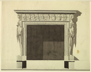 The fireplace is framed as by the upper part of a molded frame, whose upper end is somewhat projecting. Below is a base. Upon the upper edge stands a relief with nine dancers like those in 1938-88-8200. Laterally stand caryatids shown in profile. An antablature is above. A strip of paper has been pasted over one of its ornamented moldings. Shadow, baseline, plans, scale similar to 1901-039-8194. Figures and feet are added in ordinary ink. At right are rough graphite outlines of an entablature and of the right side of a mantelpiece. Below framing as in 1901-38-8200.