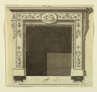 The opening is framed by a torus with a garland. Above it are the lower moldings of the entablature. The projecting parts have the shape of a horizontal angular frame. It is framed by moldings. Vases with plants are inside below. An ovoidal medallion is above in front of the center, representing a girl and a putto. Festoons hang from it toward the corners, form where they hang downward. Laterally the corners of the frieze of the entablature are shown. Baskets are below them on top of one pilaster strip. Shadow, background, base line plan, scale as in 1938-88-8210. Framling line and traces of the stripe below. Similar to 1938-88-8212.