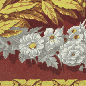 Horizontal rectangle. Across the top and bottom, twisted ribbon motif in yellow. Between, intertwined chains of laurel and white flowers, on a red flock field.