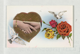 Post Card:  cards used in Turkey at the feast of Bayram (?) following Ramadam. Horizontal and vertical rectangles: Six greeting cards showing birds carrying flowers or letters, clasped hands and scenes. Purchased by donor Bursa, Turkey, June, 1953