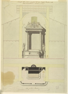 """Vertical composition divided into two sections. The top section shows the frontal view of the altar with the altar mensa in front of the dado, flanked by two women, one holding a chalice and the other holding a cross. Two columns support the entablature that is topped by steps showing angels and a glory of rays. The bottom section is the plan, depicting the altar from above. Inscription at the bottom reads """"Scala di Palmi Romani."""""""