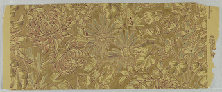 Aesthetic-style design, with chrysanthemums and other flowers, printed against a textured gold ground.